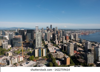 Seattle, WA - June 4, 2019: View of downtown Seattle Washington as seen from the top of the Space Needle.
