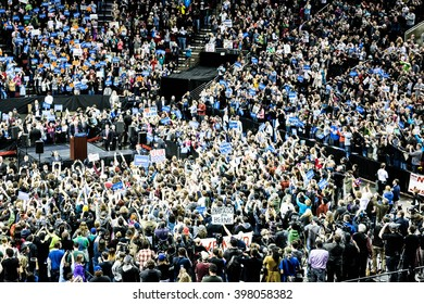 SEATTLE, WA - March 20, 2016: A massive crowd gathers in Key Arena to rally for presidential candidate Bernie Sanders