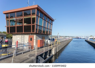 SEATTLE, WA, MAY 27, 2018: The control tower and smaller of the two locks that comprise the Hiram M. Chittenden locks in Seattle. Editorial use only.