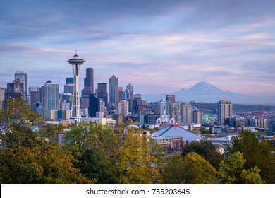 Seattle, WA - October 22, 2015: The Space Needle towers above the city of Seattle, Washington, with Mount Rainier visable in the background. (2602)