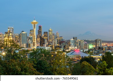 Seattle, WA - October 22, 2015: The Space Needle towers above the city of Seattle, Washington, with Mount Rainier visable in the background. (2639)