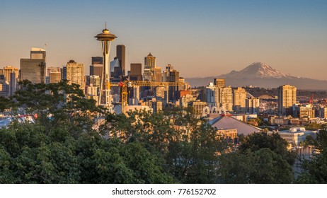 SEATTLE, WA - SEPTEMBER 1, 2017: The skyline of Seattle seen from Kerry Park with the Space Needle on the left and Mt.Rainier in the background at sunset – Seattle, WA