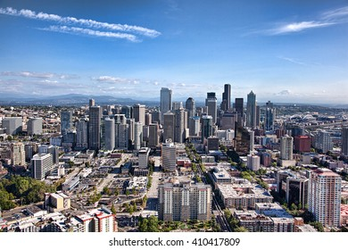 SEATTLE, WA - SEPTEMBER 19, 2011: Wide aerial cityscape of Seattle on a clear day with Mount Rainier in the distance.