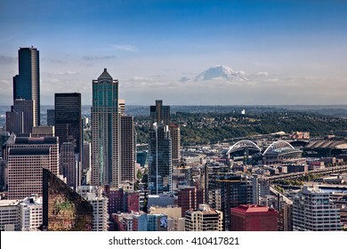 SEATTLE, WA - SEPTEMBER 19, 2011: Aerial view of downtown Seattle, with CenturyLink Field, the home of Seattle Seahawks, and Mount Rainer in the background.