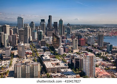 SEATTLE, WA - SEPTEMBER 19, 2011: Aerial view of downtown Seattle, showing the edge of Puget Sound and Mount Rainier in the distance.