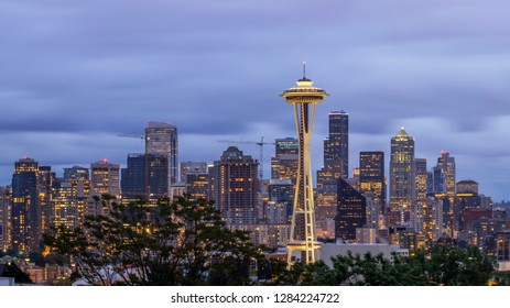 SEATTLE, WA - SUMMER 2015 - A Close Up Shot of tge Seattle Skyline and Iconic Space Needle during a Cloudy Twilight Long Exposure