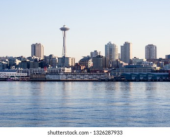 Seattle, WA, USA - April 1, 2016: View of Seattle waterfront from the sea at sunset