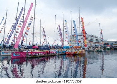 Seattle, WA, USA April 29, 2018: Clipper Round the World Yacht Race racing yachts at Bell Harbor Marina in Seattle, Washington as part of the 2018 Race around the world