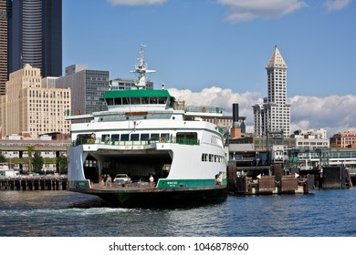 Seattle, WA, USA August 4, 2007: M/V Wenatchee, a Jumbo Mark 2 class ferry boat, is docked at Coleman Dock in Seattle, Washington