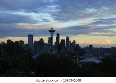 Seattle, WA. / USA - Circa 2014 Late afternoon view of downtown Seattle and Mt. Rainier