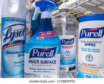 Seattle, WA / USA - circa March 2020: Stockpile of Clorox wipes, Lysol spray, and Purell hand sanitizer in preparation for a COVID-19 coronavirus quarantine