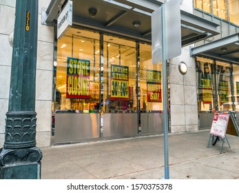 Seattle, WA / USA - circa November 2019: Forever 21 retail clothing store advertising going out of business bankruptcy sale in downtown Seattle