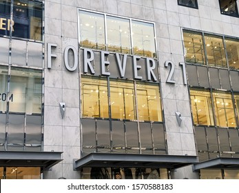 Seattle, WA / USA - circa November 2019: Forever 21 retail clothing store advertising going out of business bankruptcy sale in downtown Seattle.