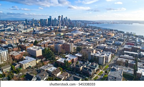 Seattle, Wa USA Cityscape Aerial Panoramic View