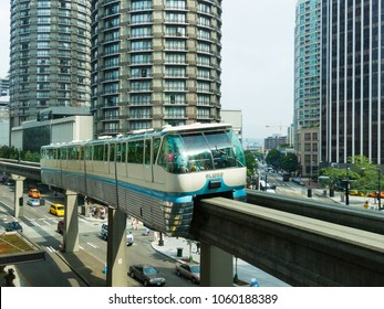 Seattle, WA USA July 14, 2014: The Seattle Monorail, built for the 1962 Worlds Fair in held Seattle, still operates today with two trains running between Seattle Center and Westlake Center