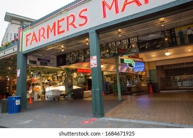 Seattle, WA, USA - July 31 2018 - Empty Pike Place Market exterior. Empty public market story.
