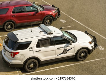 SEATTLE, WA, USA, - JUNE 2018: State Patrol K9 unit patrol car parked near the waterfront in downtown Seattle.