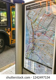 SEATTLE, WA, USA - JUNE 2018: Route map for travellers displayed at a bus stop in Seattle city center.