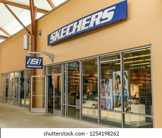SEATTLE, WA, USA - JUNE 2018: Exterior of the Skechers store at the Premium Outlets shopping mall near Seattle.
