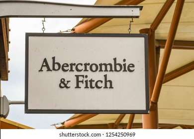 SEATTLE, WA, USA - JUNE 2018: Close up view of a sign outside the Abercrombie & Fitch factory store at the Premium Outlets shopping mall in Tulalip near Seattle.
