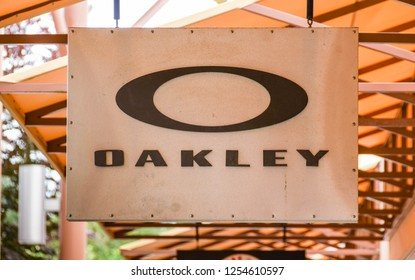 SEATTLE, WA, USA - JUNE 2018: Close up view of a sign outside the Oakley factory store at the Premium Outlets shopping mall in Tulalip near Seattle.