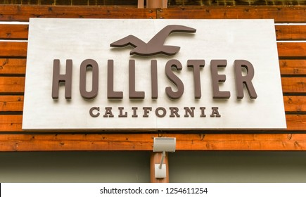 SEATTLE, WA, USA - JUNE 2018: Close up view of a sign outside the Hollister factory store at the Premium Outlets shopping mall in Tulalip near Seattle.
