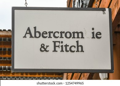 SEATTLE, WA, USA - JUNE 2018: Close up view of a sign outside the Abercrombie & Fitch factory store at the Premium Outlets shopping mall in Tulalip near Seattle. A letter is missing from the sign.