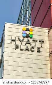 SEATTLE, WA, USA - JUNE 2018: Large sign on the exterior wall of the Hyatt Place hotel in Seattle.