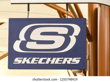 SEATTLE, WA, USA - JUNE 2018: Close up view of a sign outside a Skechers store at the Premium Outlets shopping mall near Seattle.