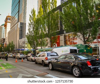 SEATTLE, WA, USA, - JUNE 2018: Traffic queuing in Seattle city centre as people make their way home after work.