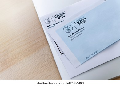 Seattle, WA, USA - Mar 25, 2020: United States Census 2020 Envelope with Logos