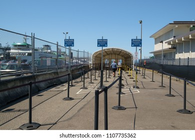 Seattle, WA, USA May 13, 2018: Passenger loading area for pedstrian only fast ferry from Seattle to West Seattle, Vashon Island, and Bremerton, Washington
