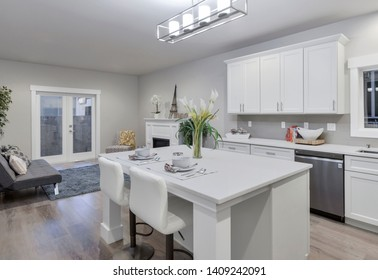 Seattle, WA / USA - May 23, 2019: Modern kitchen and living room interior