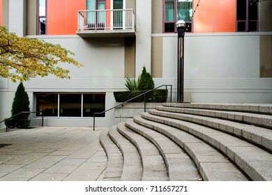 Seattle, WA, USA Oct. 28, 2016: Curved concrete steps at Harbor Steps located between 1st  Ave. to Western Ave. in downtown Seattle, Washington