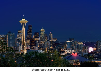 Seattle, WA USA- October 7th, 2015. Beautiful view on Seattle skyline opens from Kerry Park.