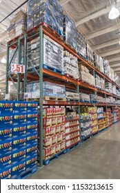SEATTLE, WA, US-JUL 28, 2015:Inside Costco Wholesale big-boxes store from floor to ceiling. It is the largest membership-only warehouse club in USA with total of 705 warehouses worldwide