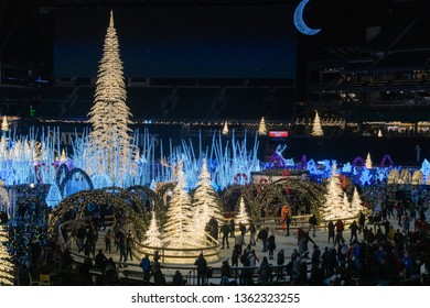 Seattle, Washington - 2018-12-09 - People ice skating in the Enchant Christmas Event at Safeco field