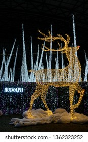 Seattle, Washington - 2018-12-09 - Rudolph the reindeer created of christmas lights in the Enchant Christmas Event at Safeco field