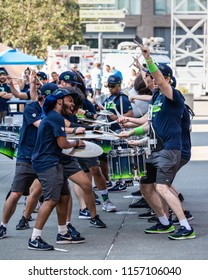 Seattle, Washington - 8/9/2018 : The Blue Thunder drumline in front of CenturyLink Field before a Seattle Seahawks football game.