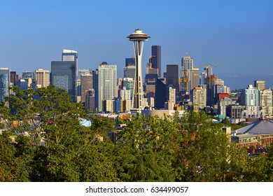 SEATTLE, WASHINGTON - AUGUST 1, 2016 - View of the Seattle, Washington skyline with the Space Needle in the center of the image
