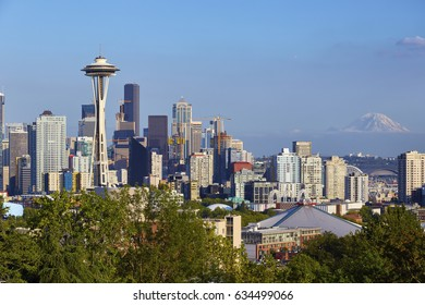 SEATTLE, WASHINGTON - AUGUST 1, 2016 - Downtown Seattle, Washington with Mount Rainier in the background