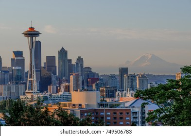 Seattle, Washington, August 10, 2012: View of downtown Seattle at sunrise from Kerry Park