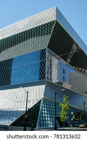 Seattle, Washington - August 20, 2005: Public Library in Seattle. The Seattle Central Library opened in 2004 and was designed by Rem Koolhaas and Joshua Prince-Ramus.