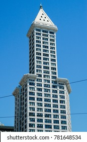 Seattle, Washington - August 20, 2005: Smith Tower building in Seattle. The 38-story 149 m tall building was completed in 1914 and named after its builder, magnate Lyman Cornelius Smith.