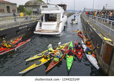SEATTLE, WASHINGTON - AUGUST 25, 2018: Ballard (Hiram M. Chittenden) Locks. Seattle is a seaport city on the west coast of the United States. It is the seat of King County, Washington.