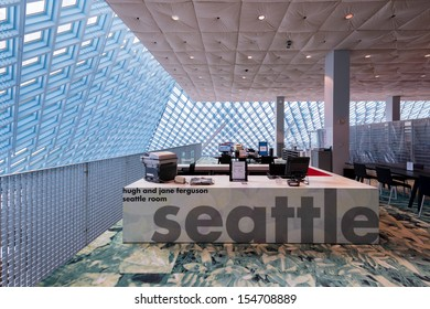 SEATTLE, WASHINGTON - AUGUST 3: The Seattle Room on the top floor of the Seattle Central Library building on August 3, 2013 in Seattle, Washington