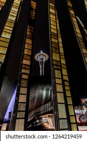 Seattle, Washington circa December 2018 Night view of the Space Needle landmark attraction viewed through slats.
