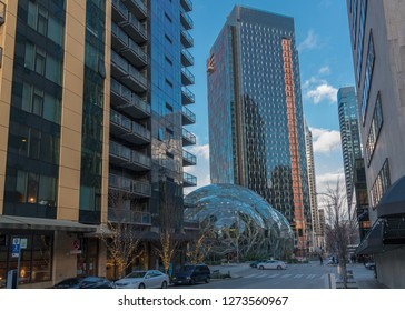 Seattle, Washington circa January 2019 the Amazon companies world headquarters with Spheres terrariums and surrounding office and condo buildings.