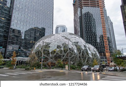 Seattle, Washington circa October 2018 the Amazon company world headquarters Spheres intersection traffic with headlights.