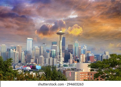 Seattle Washington Cityscape Skyline with Stormy Sky at Colorful Sunset